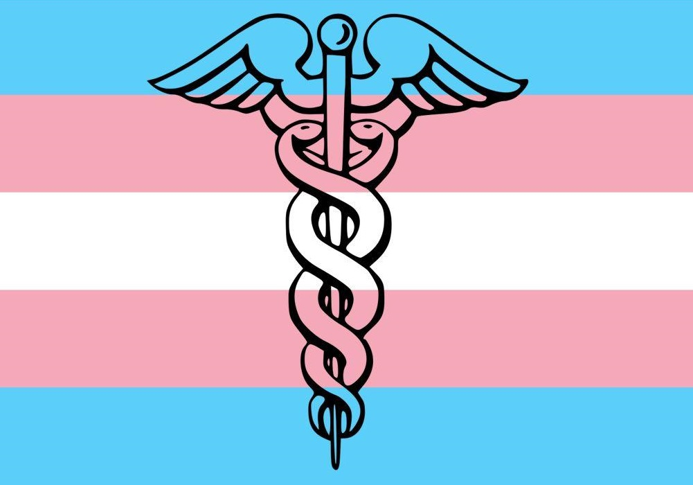 trans flag with medical symbol